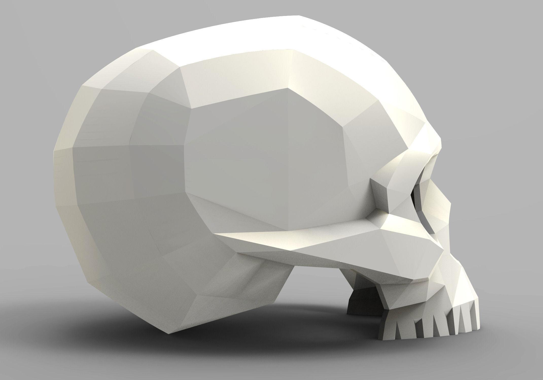 3d Printed Car Parts >> Faceted skull 3D Model 3D printable STL | CGTrader.com