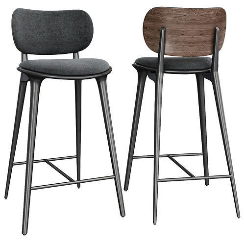 High Stool Backrest by Mater Design 3d model