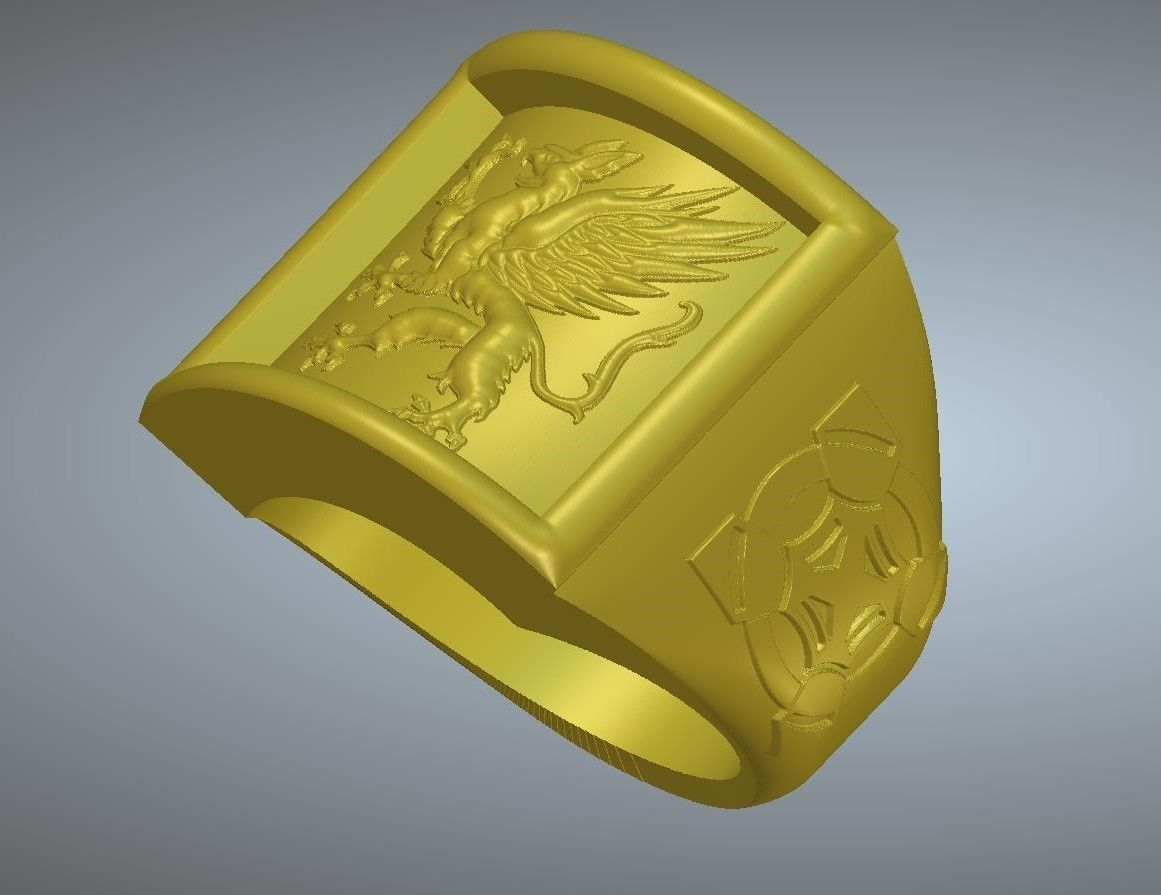 A signet ring griffin  rg01 for 3d-print and cnc