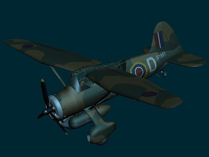 westland lysander wwii raf aircraft 3d model max obj mtl 3ds hrc xsi dxf dae 1