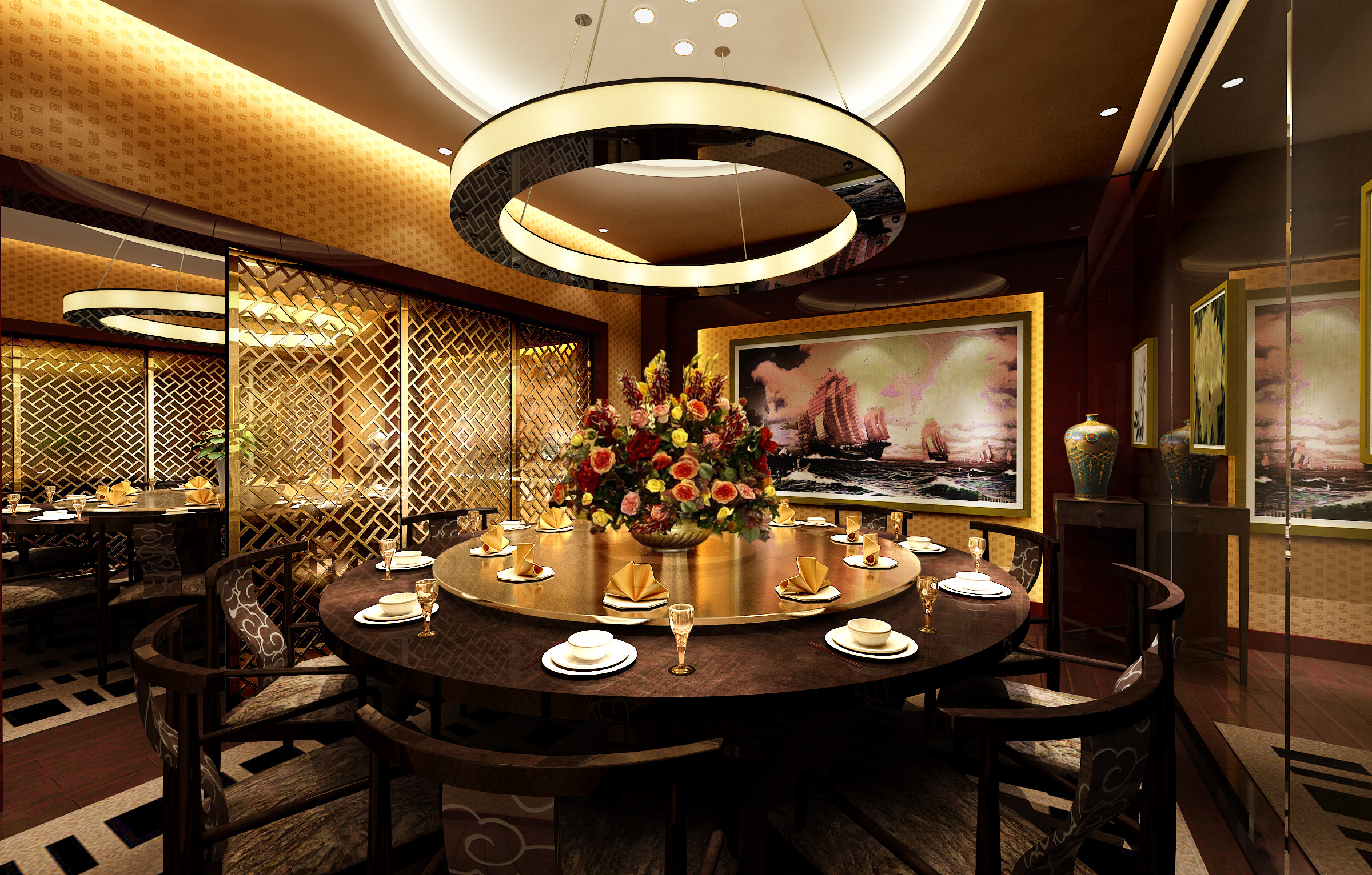 Restaurant dining room d model max cgtrader