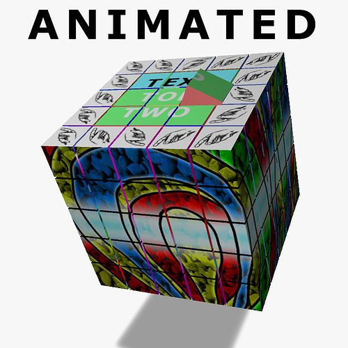 crazy cube 3d model rigged animated ma mb 1