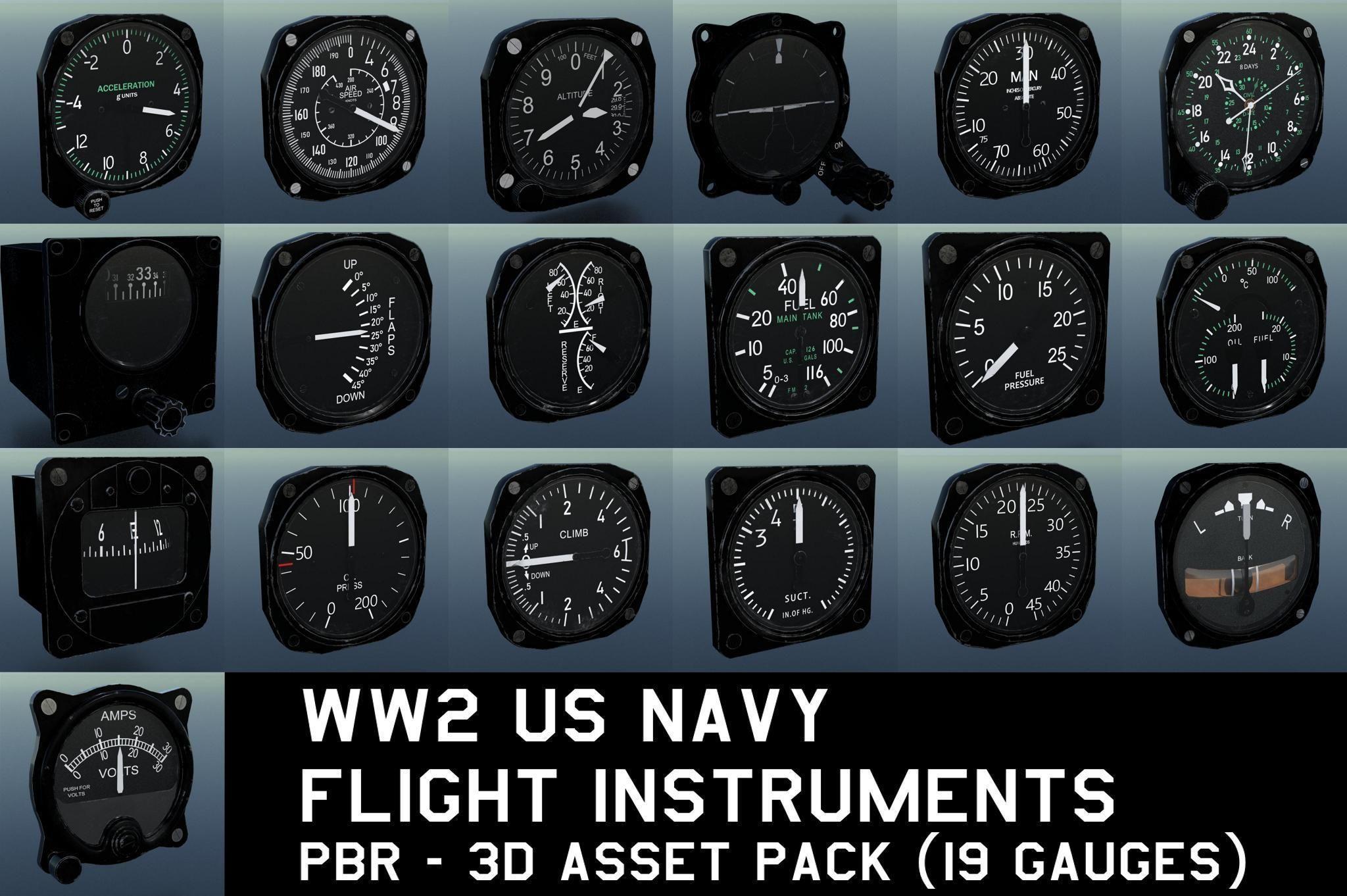 WW2 US NAVY FLIGHT INSTRUMENTS - ASSET PACK