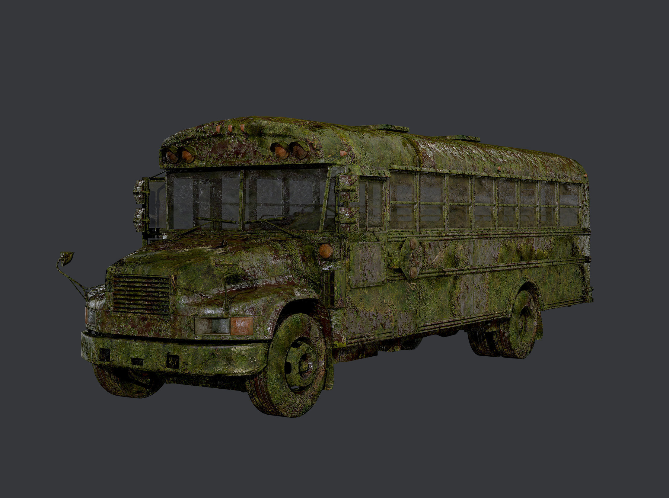 Apocalyptic Damaged Destroyed Vehicle School Bus Game Ready 02
