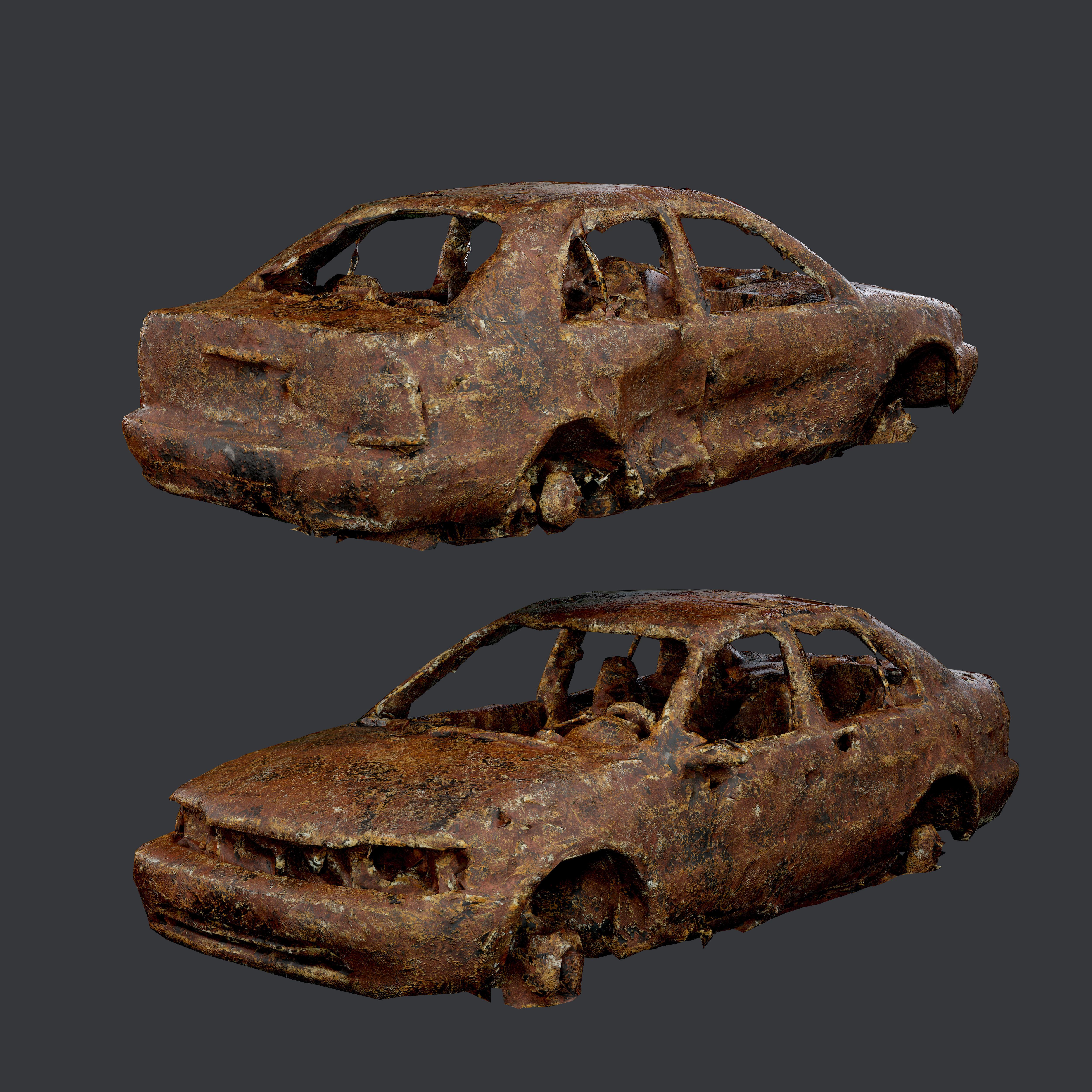 Apocalyptic Damaged Destroyed Vehicle Car Game Ready 02