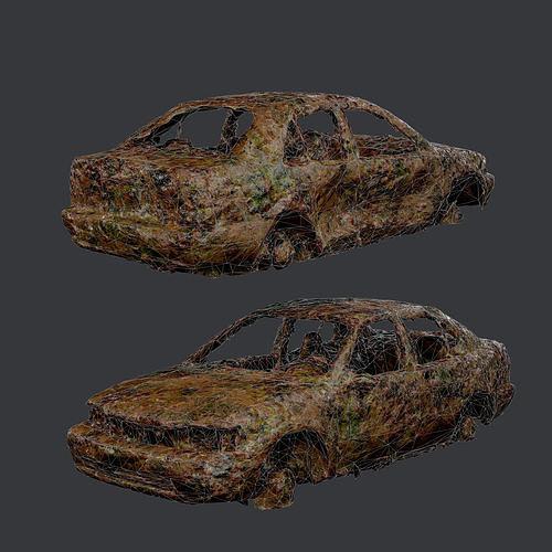 Apocalyptic Damaged Destroyed Vehicle Car Game Ready 08