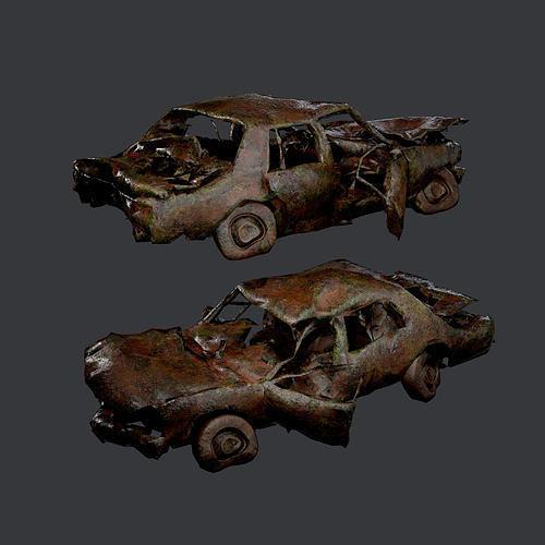 Apocalyptic Damaged Destroyed Vehicle Car Game Ready 10
