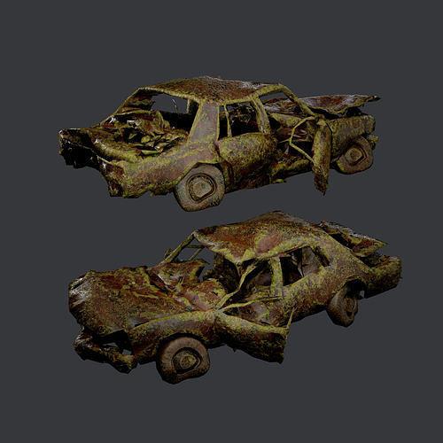 Apocalyptic Damaged Destroyed Vehicle Car Game Ready 12