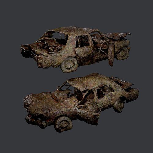 Apocalyptic Damaged Destroyed Vehicle Car Game Ready 19