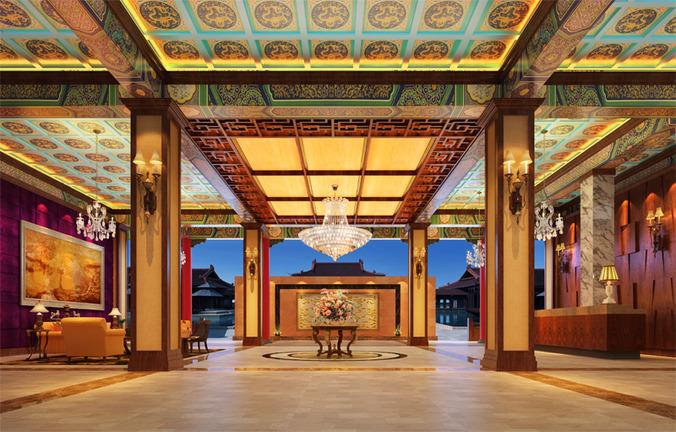 D luxury hotel lobby restaurant interior cgtrader