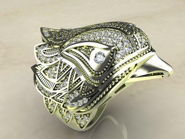 SPECTACULAR BIRD GOLD SILVER RING