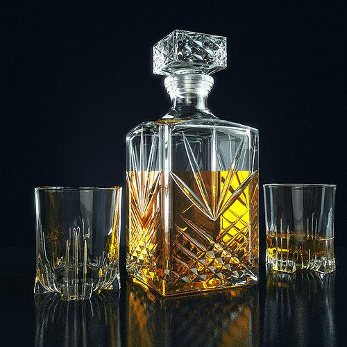 set for whiskey bormioli rocco selecta 3d model max obj mtl fbx 1