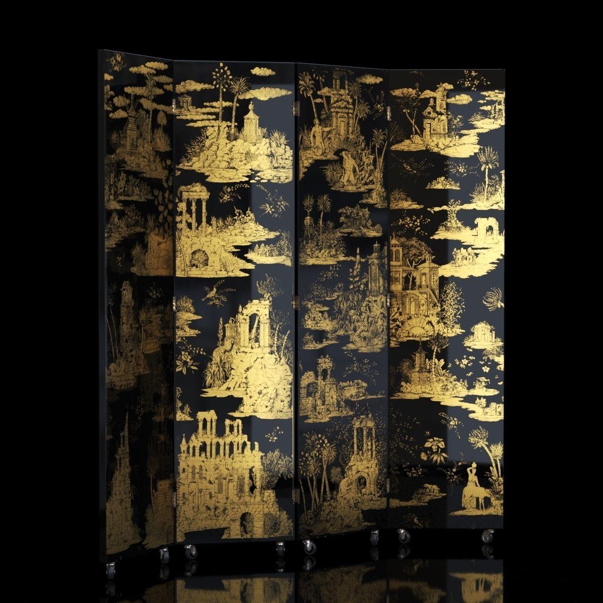 Folding Screen Gran Coromandel Black by Fornasetti