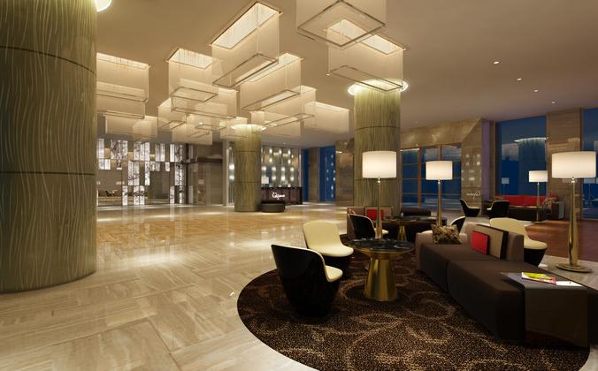 Modern hotel lobby 3d cgtrader for Designhotel 54