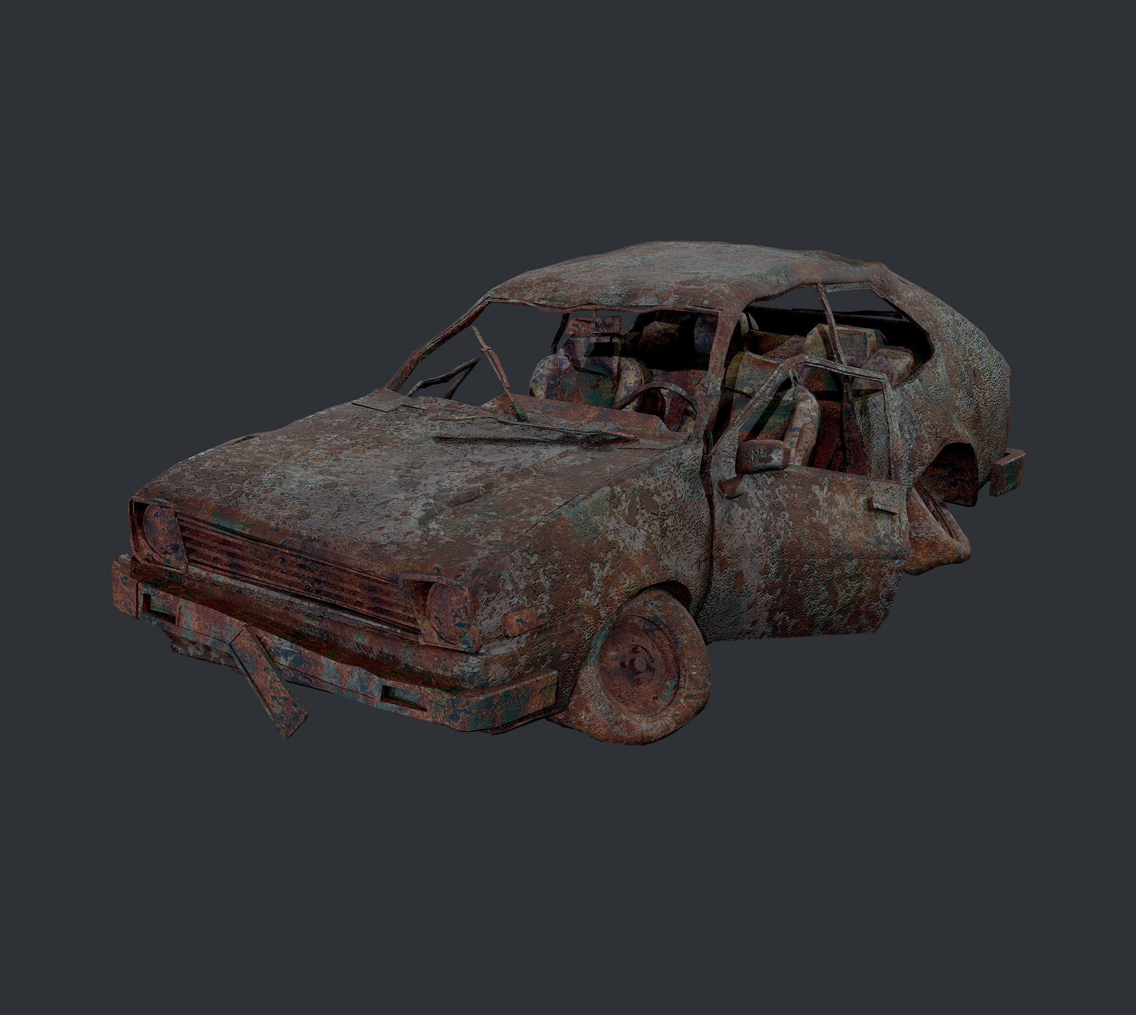 Apocalyptic Damaged Destroyed Vehicle Car Game Ready 15
