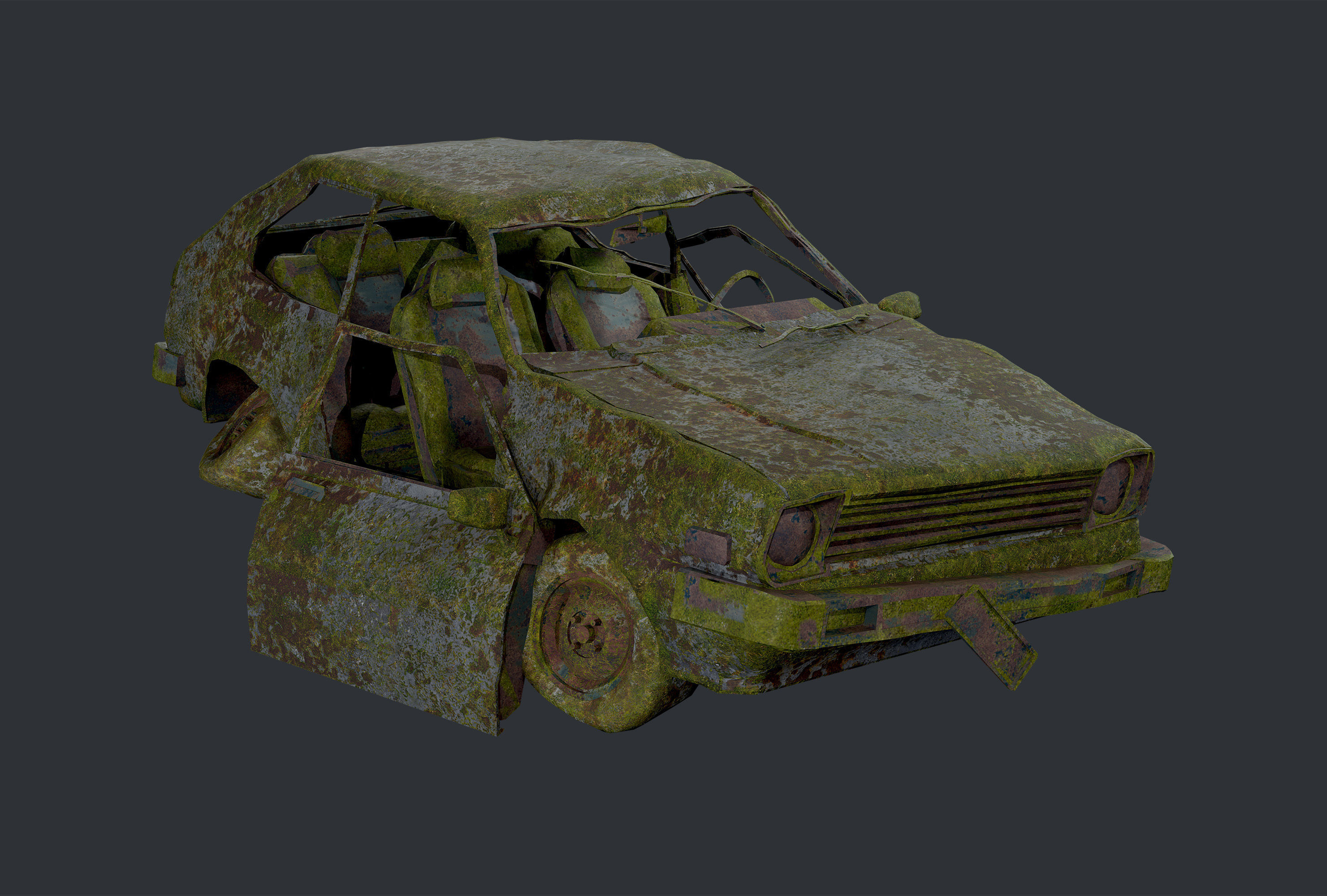 Apocalyptic Damaged Destroyed Vehicle Car Game Ready 16