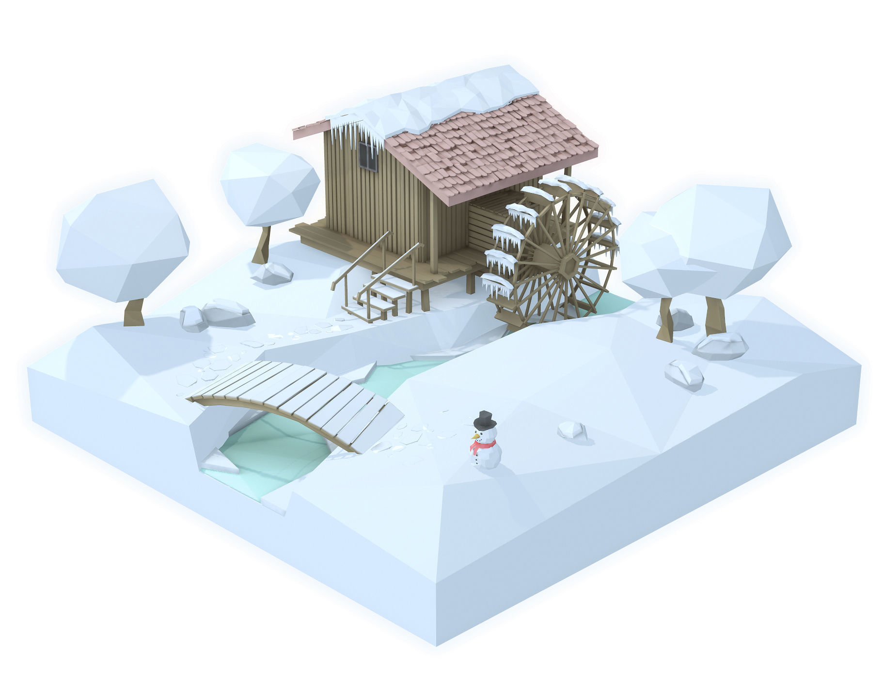 Watermill isometric landscape winter village low poly