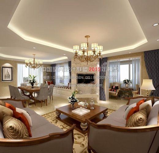 1 Room Kitchen Interior Design: European American Interior Design Living R... 3D Model
