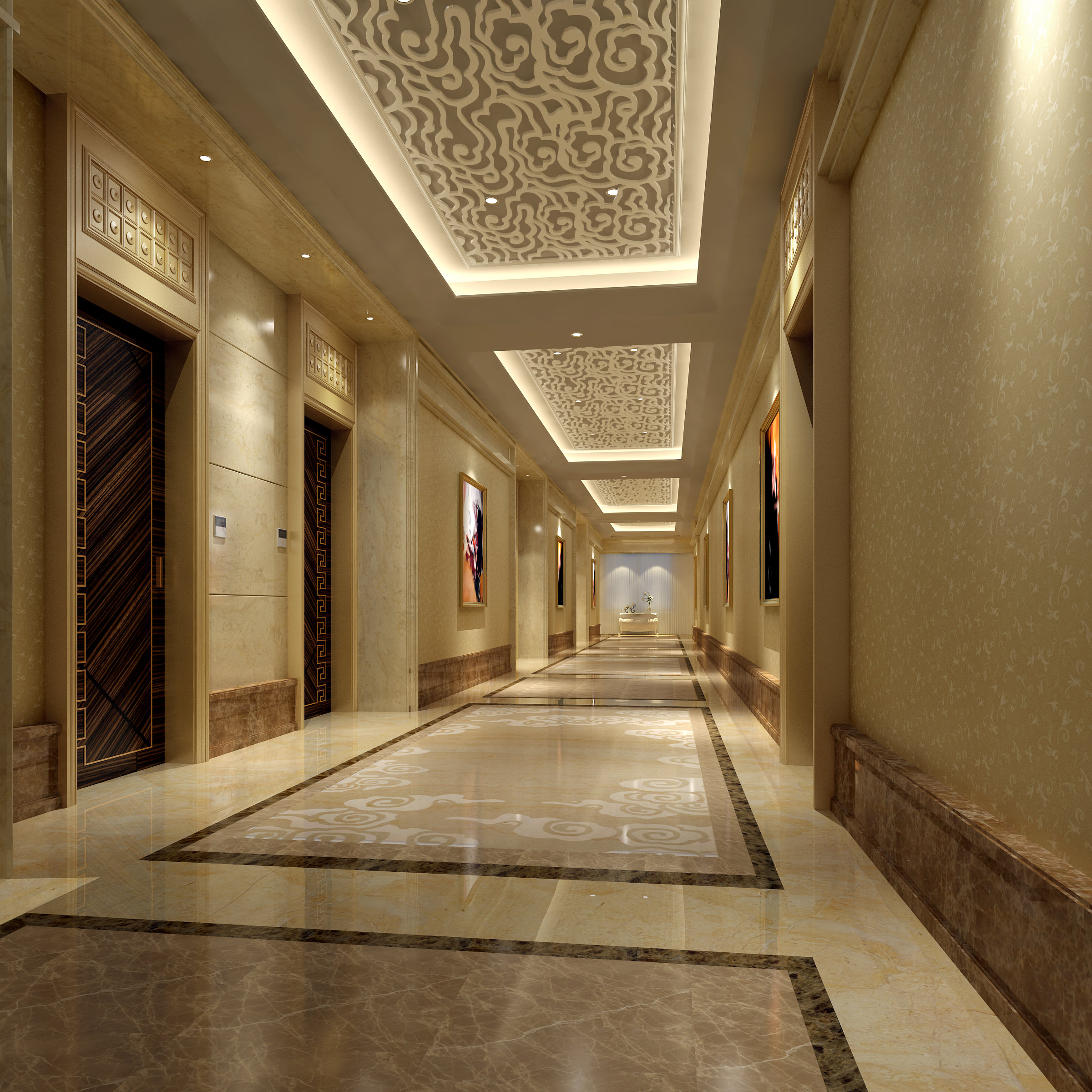 Luxurious corridor with lifts 3d model max - Corridor entrance ...