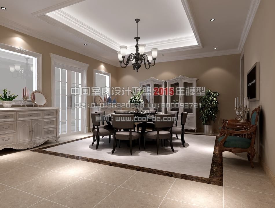European american interior design living r 3d model American interior design