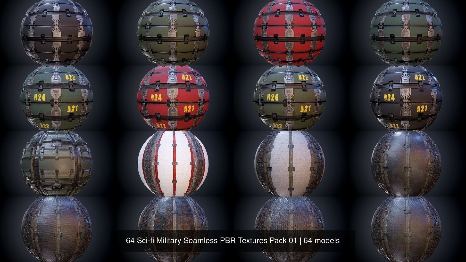 64 Sci-fi Military Seamless PBR Textures Collection 01