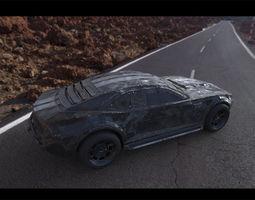 Post-apocalyptic battle-car 3D model