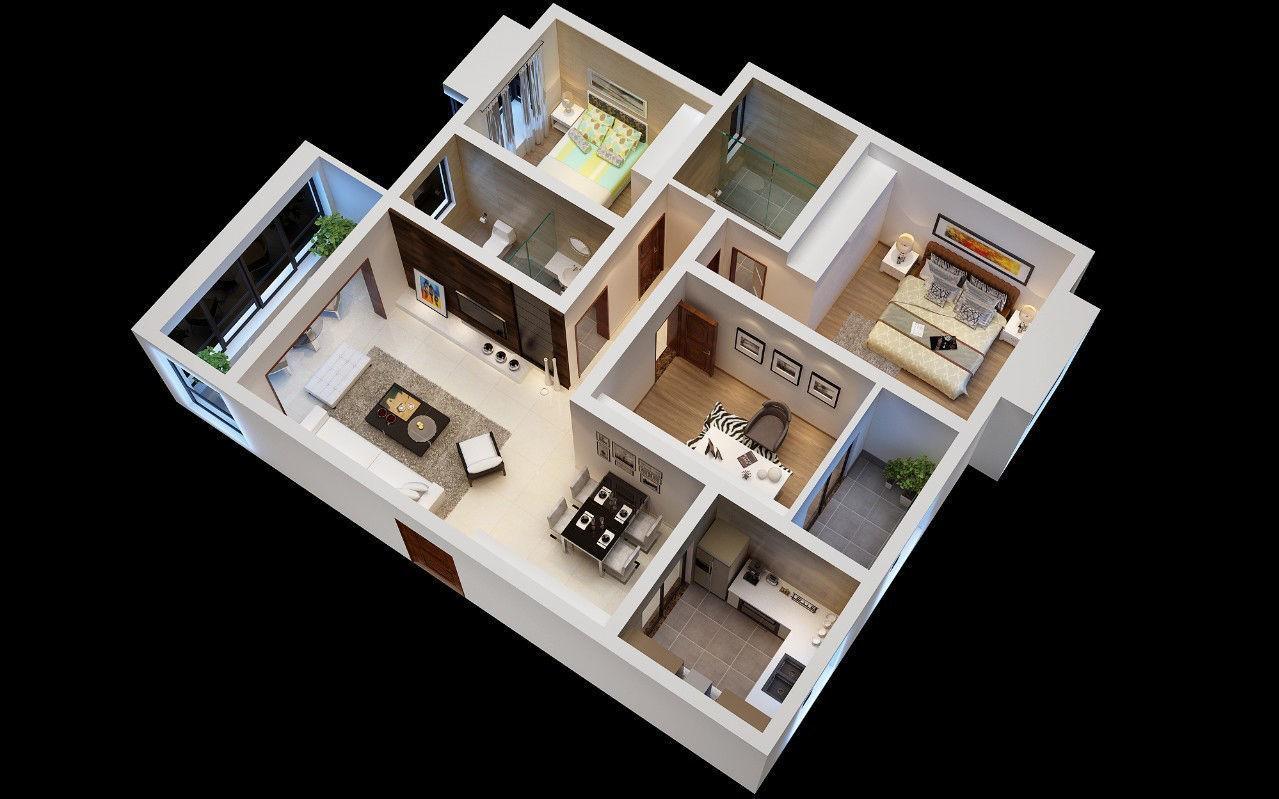 3D model Stylish luxury home decoration - living room 6143