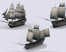 Three sailing ship 3D asset