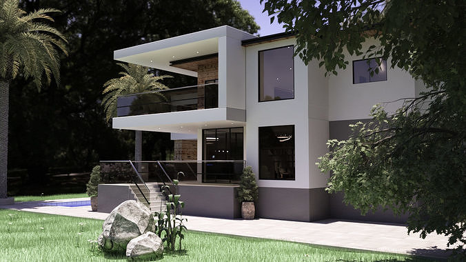 Modern Furnished Realistic Double Story House with Foliage