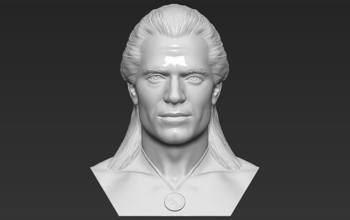 Geralt of Rivia The Witcher Cavill bust 3D printing ready