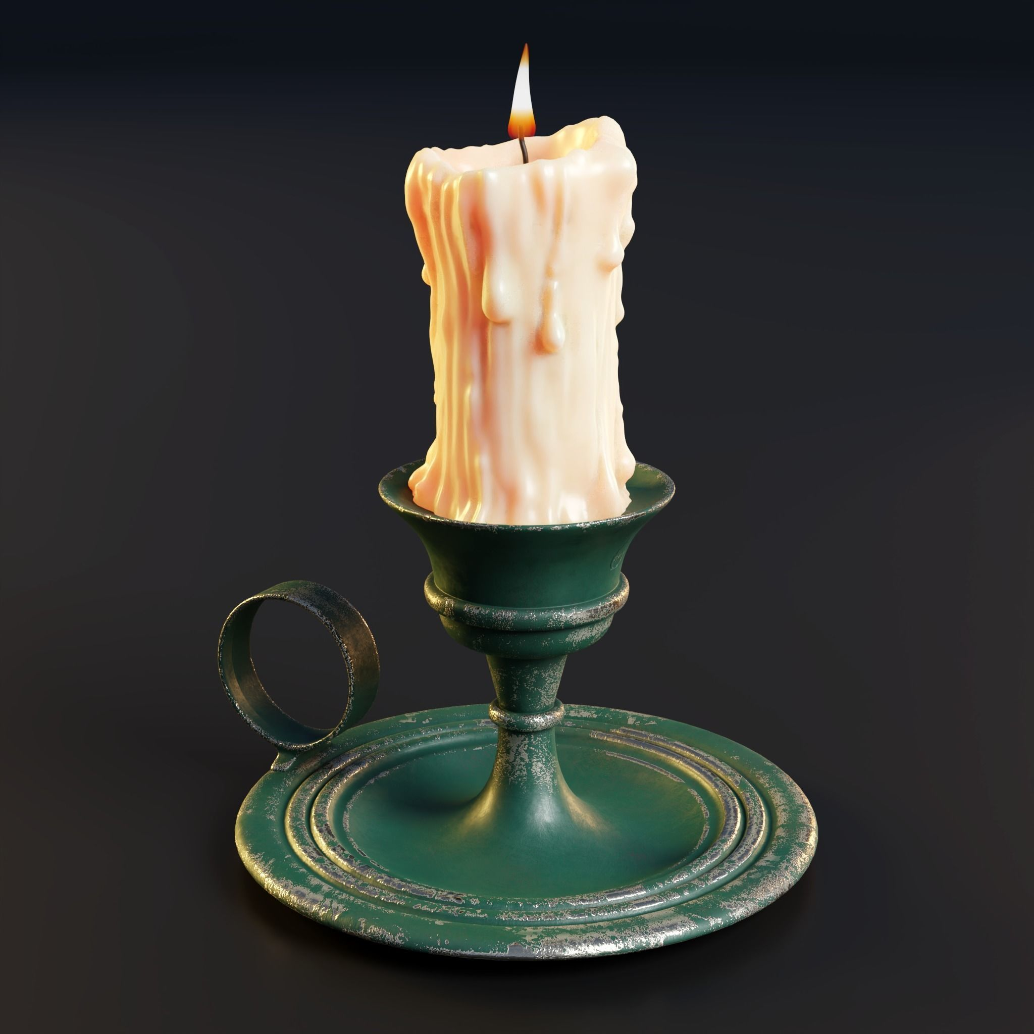 Melted candle and rustic candle holder