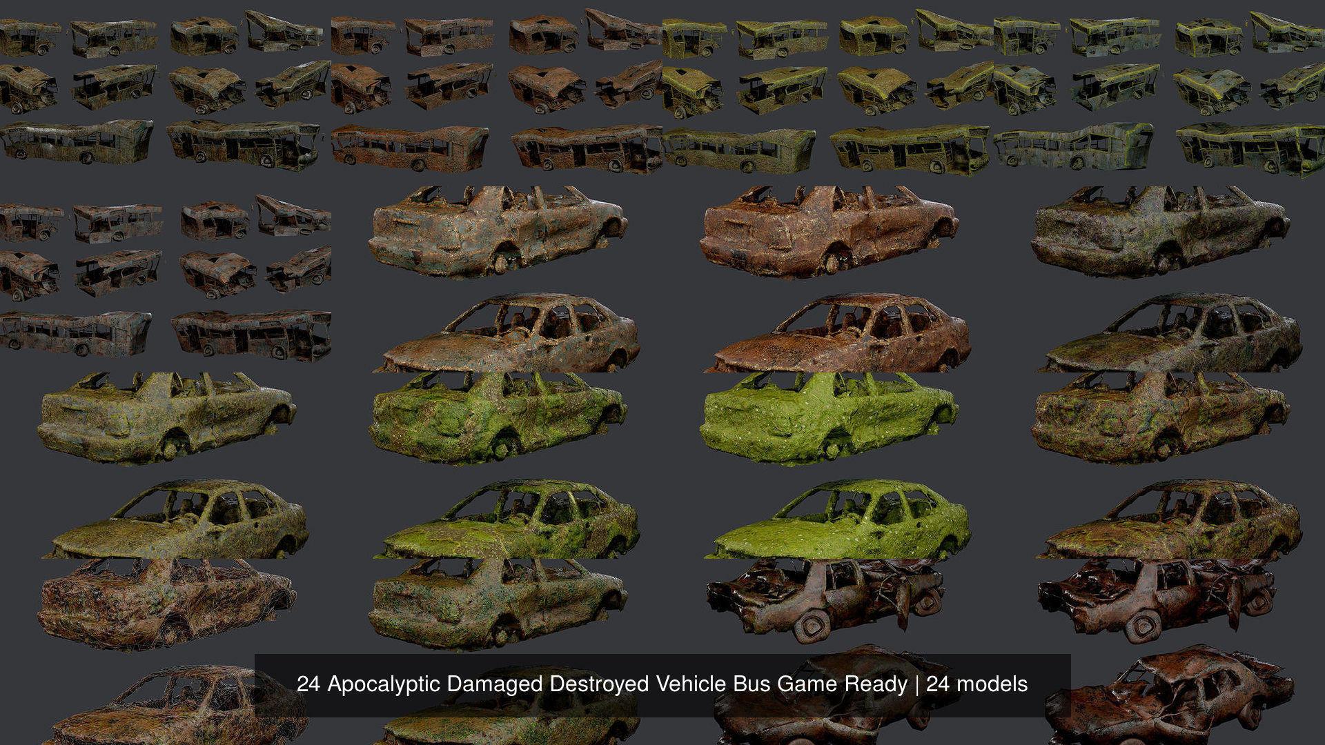 24 Apocalyptic Damaged Destroyed Vehicle Bus Game Ready
