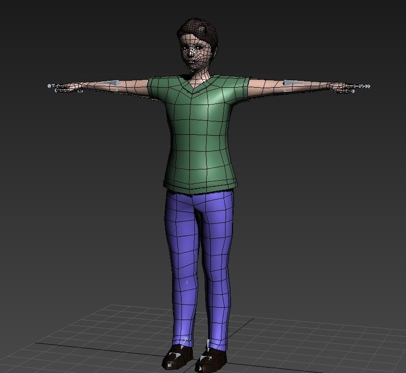 Rigged Low polygons male character with clothes and hair | 3D model