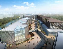 Commercial Plaza 3D architecture