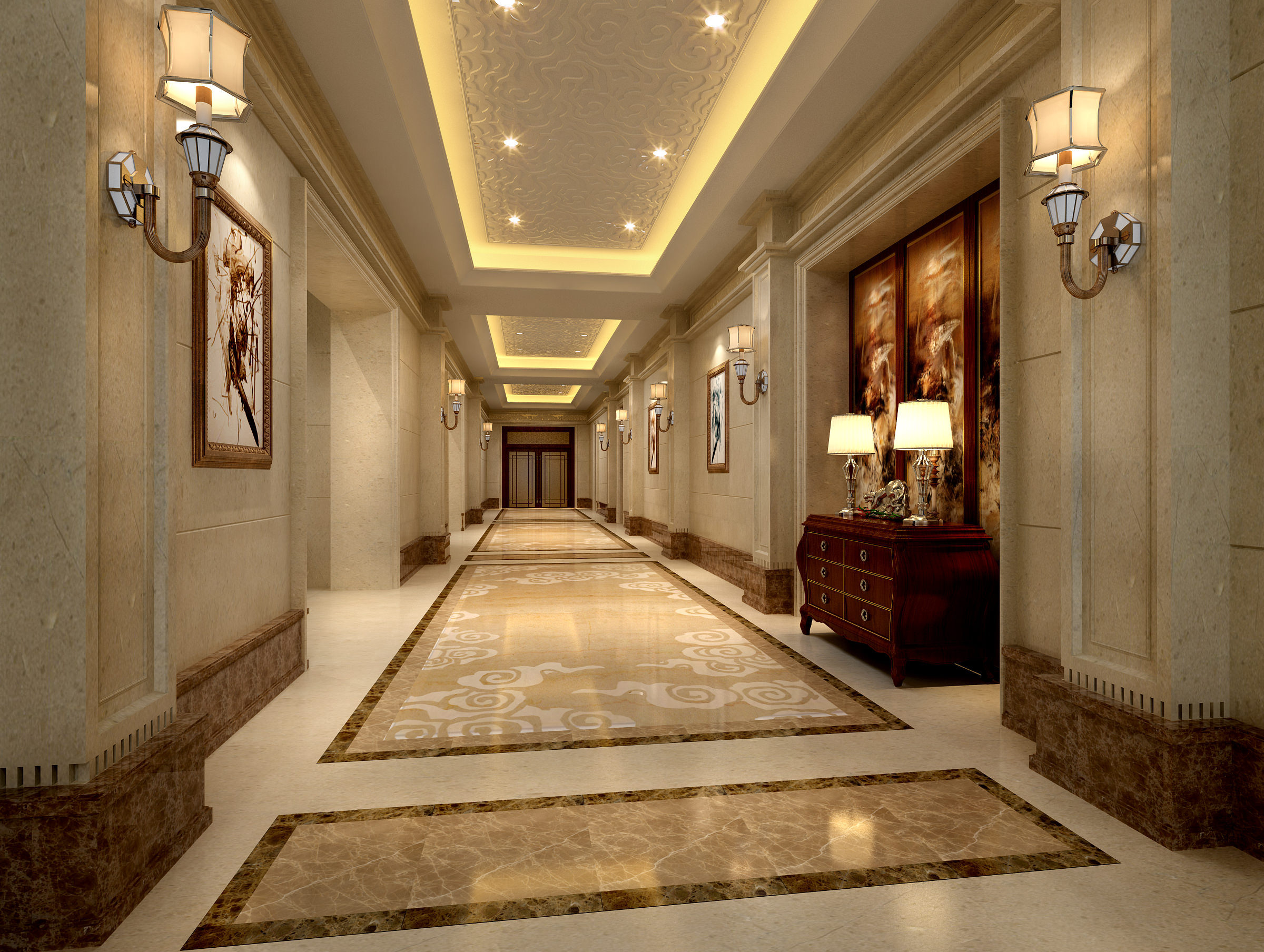 Luxury corridor hall 3d model max for Villa lobby interior design