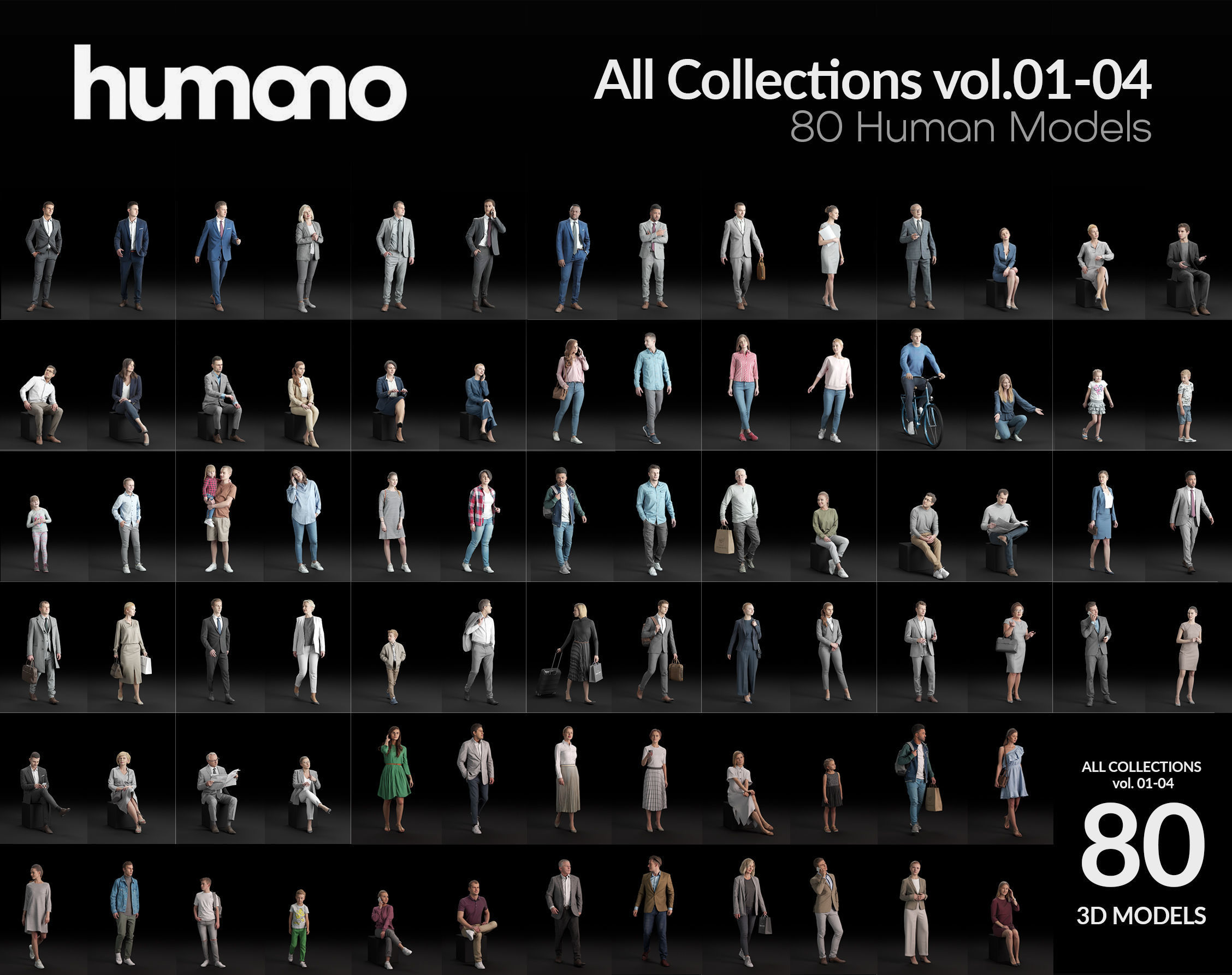 Humano 80 - Library - COMPLETE PEOPLE LIBRARY - 80x 3D models