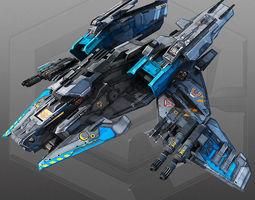 3d asset VR / AR ready sci fi bomber x4