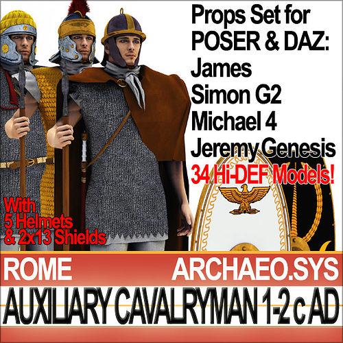 ancient rome auxiliary cavalryman props set 3d model obj mtl 3ds c4d dxf vue pz3 pp2 1