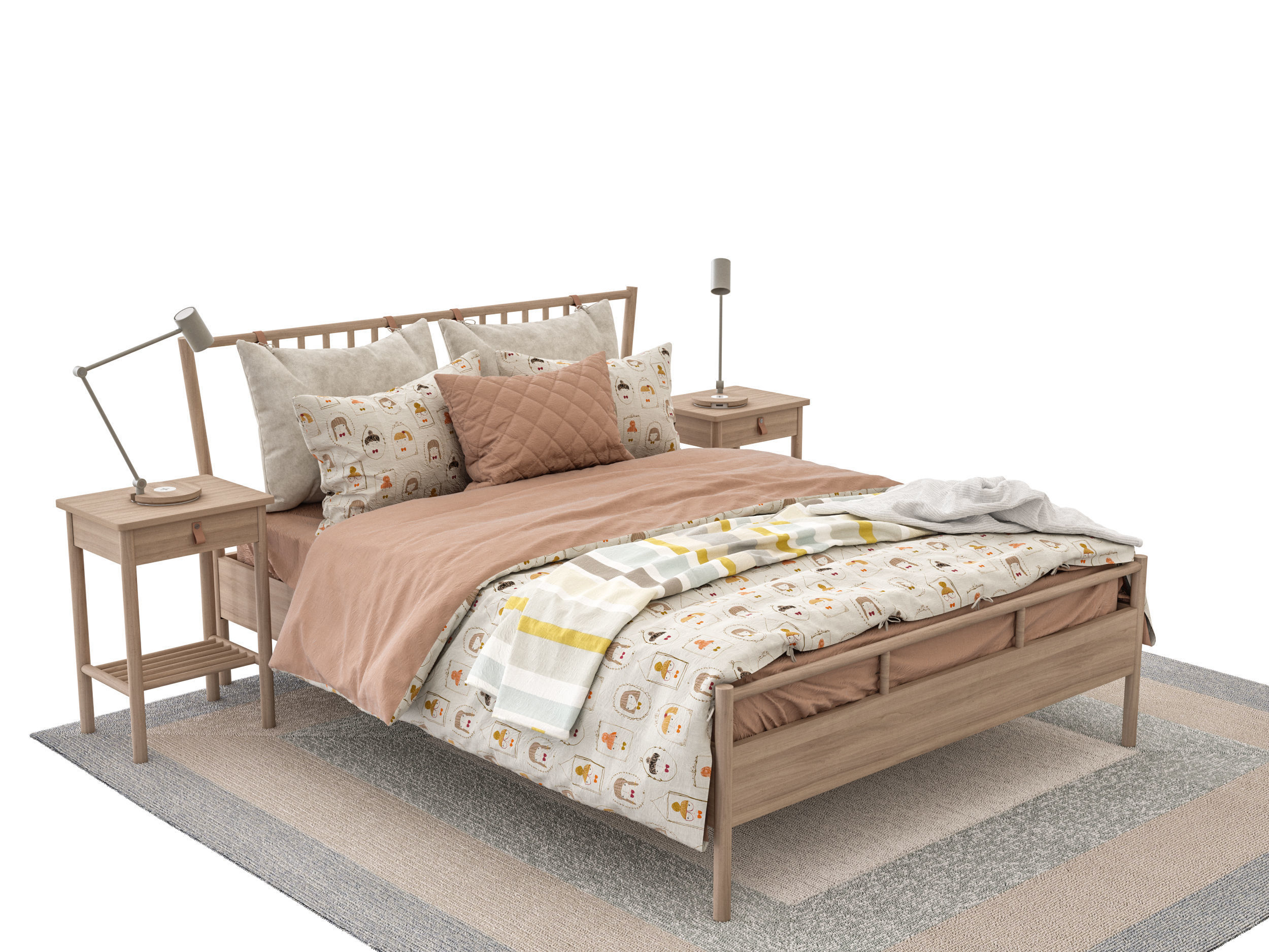Ikea Bjorksnas Bed 3d Model Max Obj