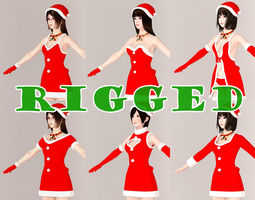 T pose rigged model of 4 girls with 6 Christmas outfit  3D Model