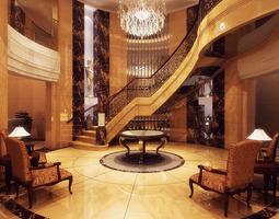 lobby hall interior 3d model design