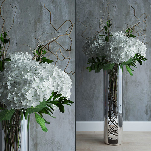 White Hydrangeas In Tall Vase With Willow Branches 3d