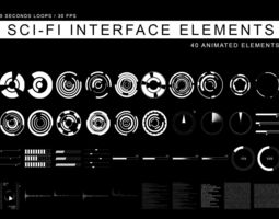 Sci-Fi Interface elements 3D collection