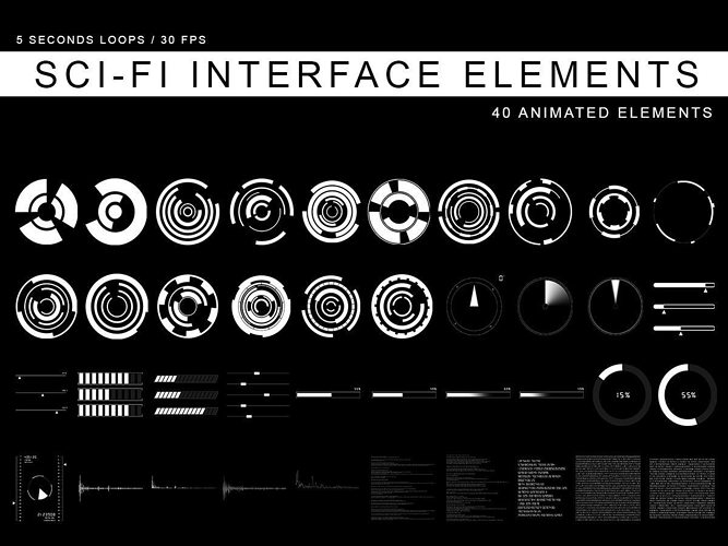 sci-fi interface elements 3d model  1
