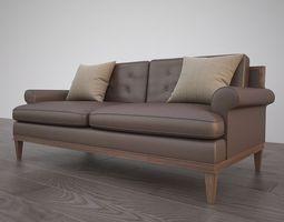 Classic sofa 3D model leather