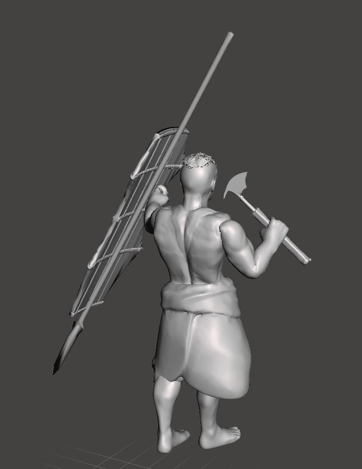Igorot Warrior with Head hunter Axe Spear and traditional Shield