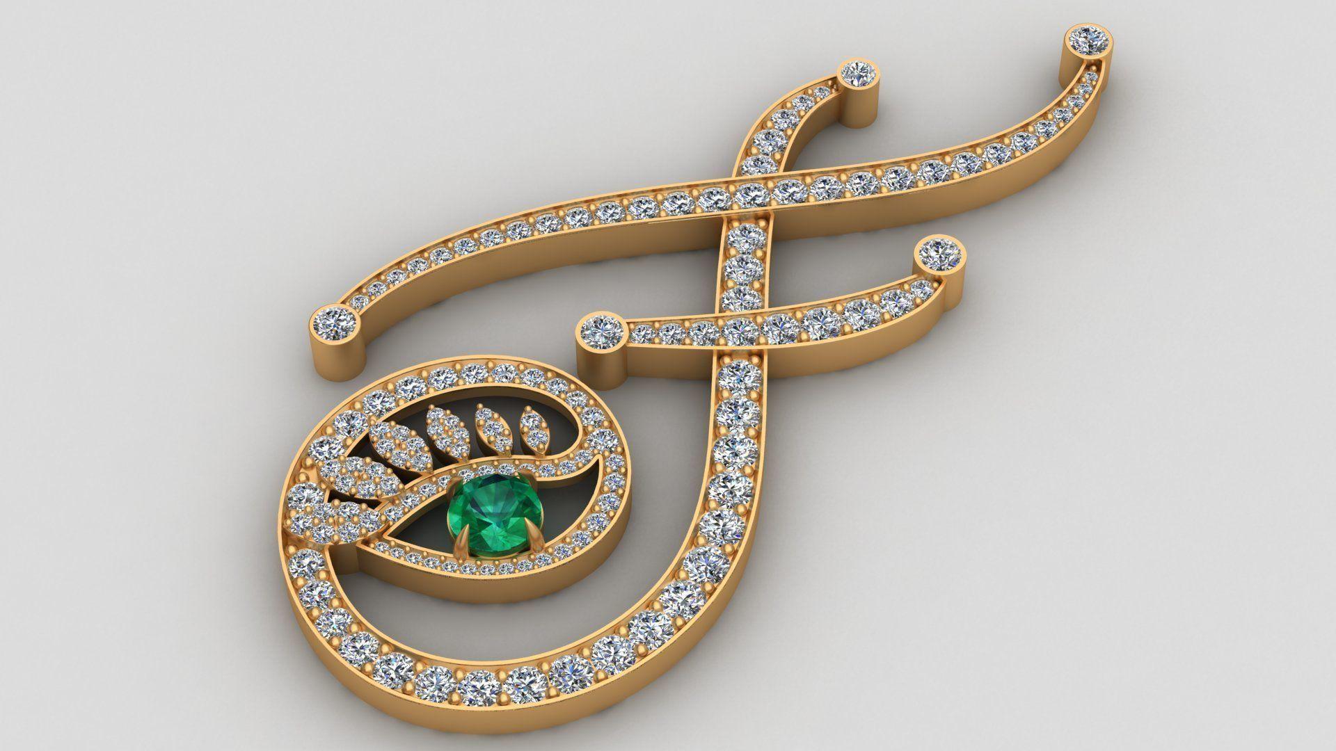 Tabayer F Letter Diamond Emerald Gold Pendant
