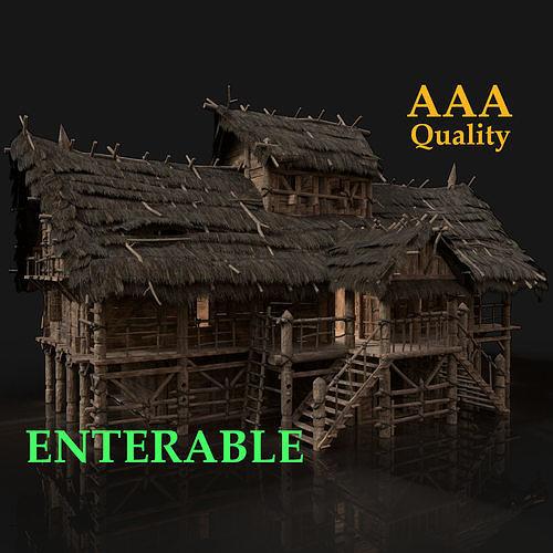 Next Gen AAA FANTASY MEDIEVAL WOODEN VIKING SWAMP HOUSE