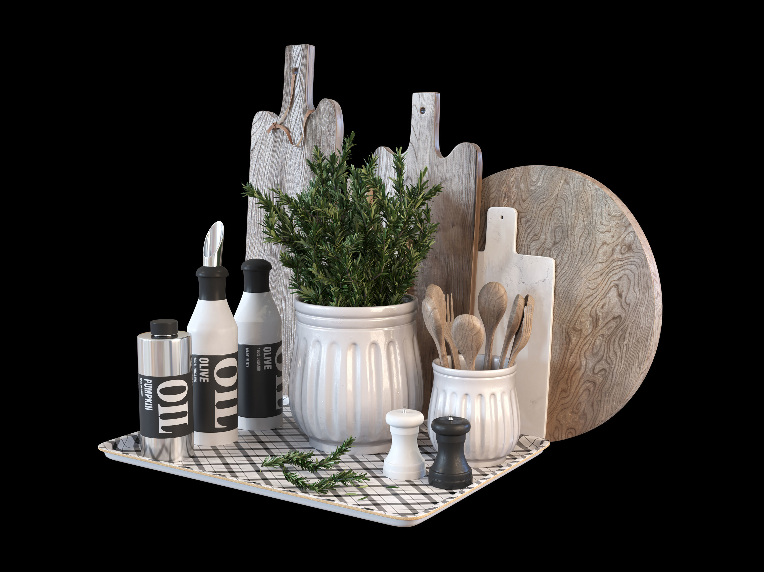 Kitchen decoration set with rosemary and cutting boards