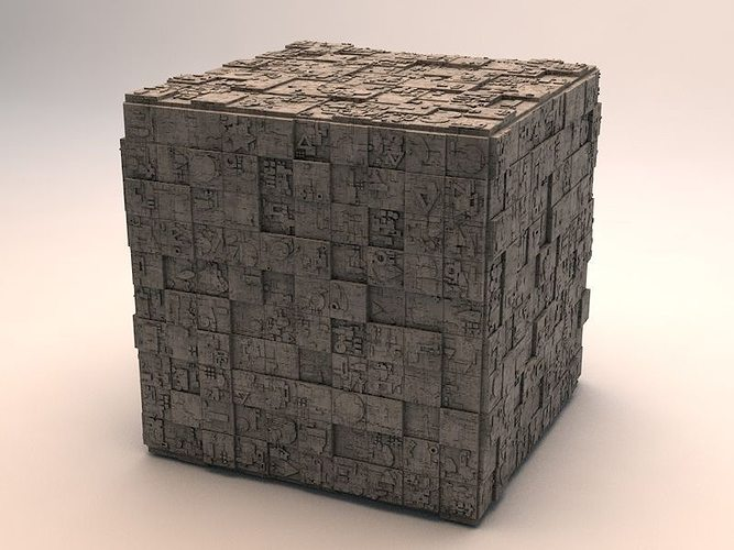 sci-fi shapes - the cube v2 3d model obj mtl 3ds fbx c4d dae 1